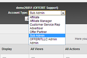 Quickly viewing and setting Affiliate access levels